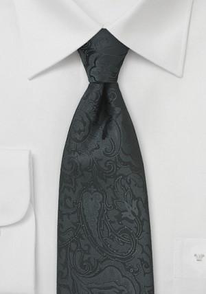 Blæksort slips med rankemønster