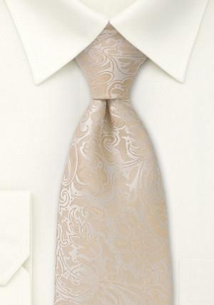 Cremehvid slips med rankemønster