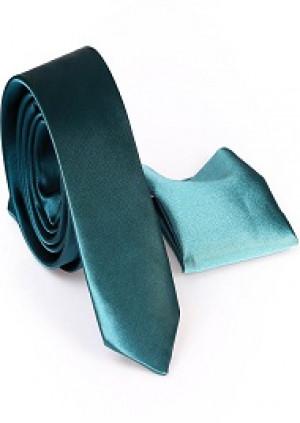 Grønt Slips inkl. lommeklud