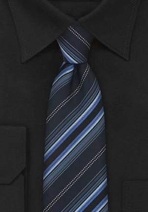 Blåstribet slips i silke