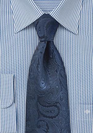Mørkeblå slips i silke med rankemønster