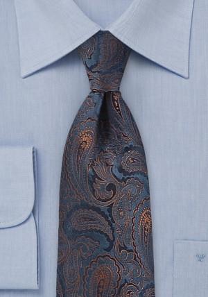 Navyblå slips i silke med rankemønster
