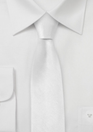 Hvidt Silkeslips (Smalt)