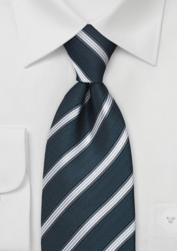 Italiensk silkeslips navy-farvet med striber