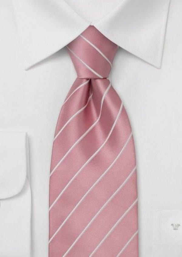 Lyserødt silkeslips med hvide striber