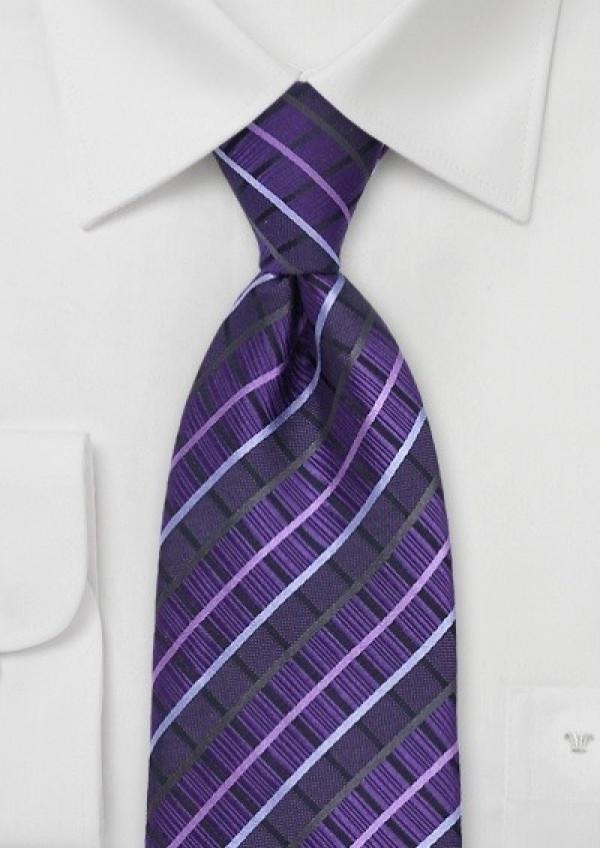 Mønstret lilla silkeslips