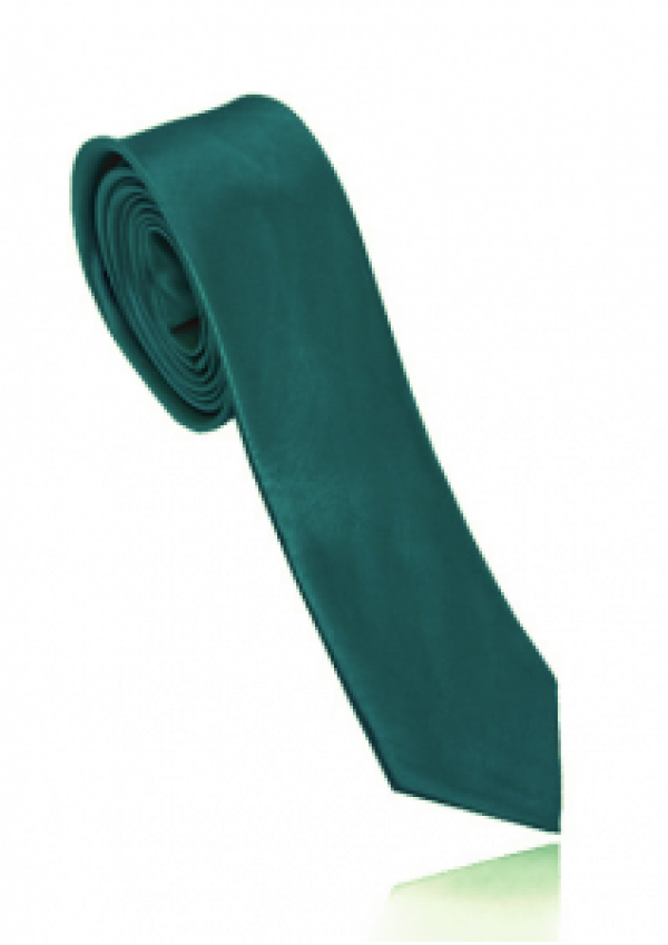 Smalt mørkegrønt polyester slips