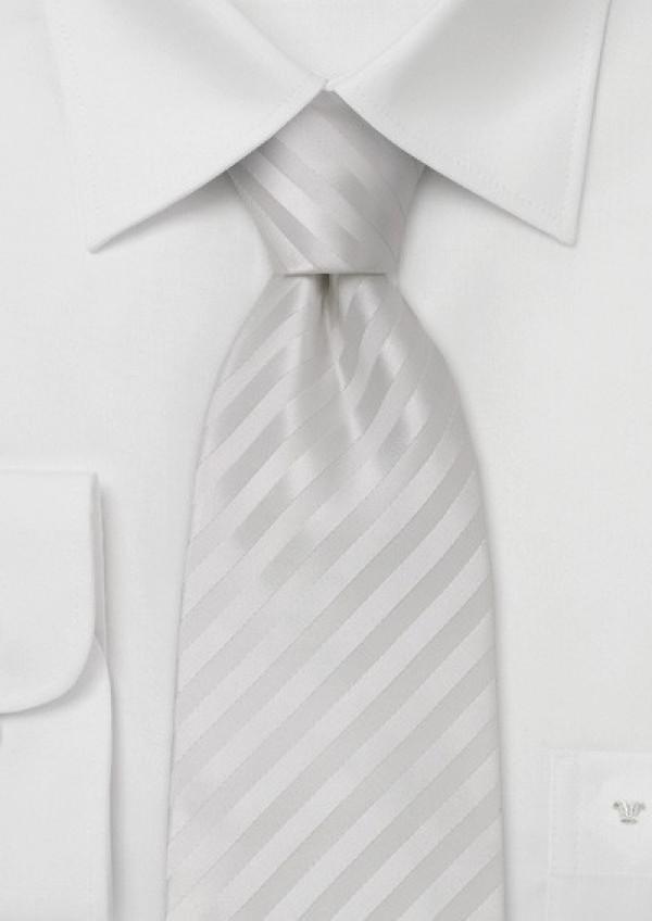 Hvidt silkeslips med striber