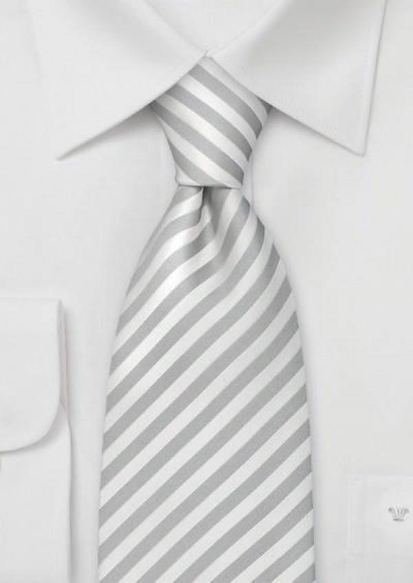 Stribet silkeslips i hvid og sølv